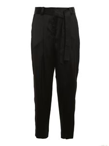 PT Torino - Viscose satin pants in black