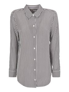 Equipment - Striped silk shirt in black and white