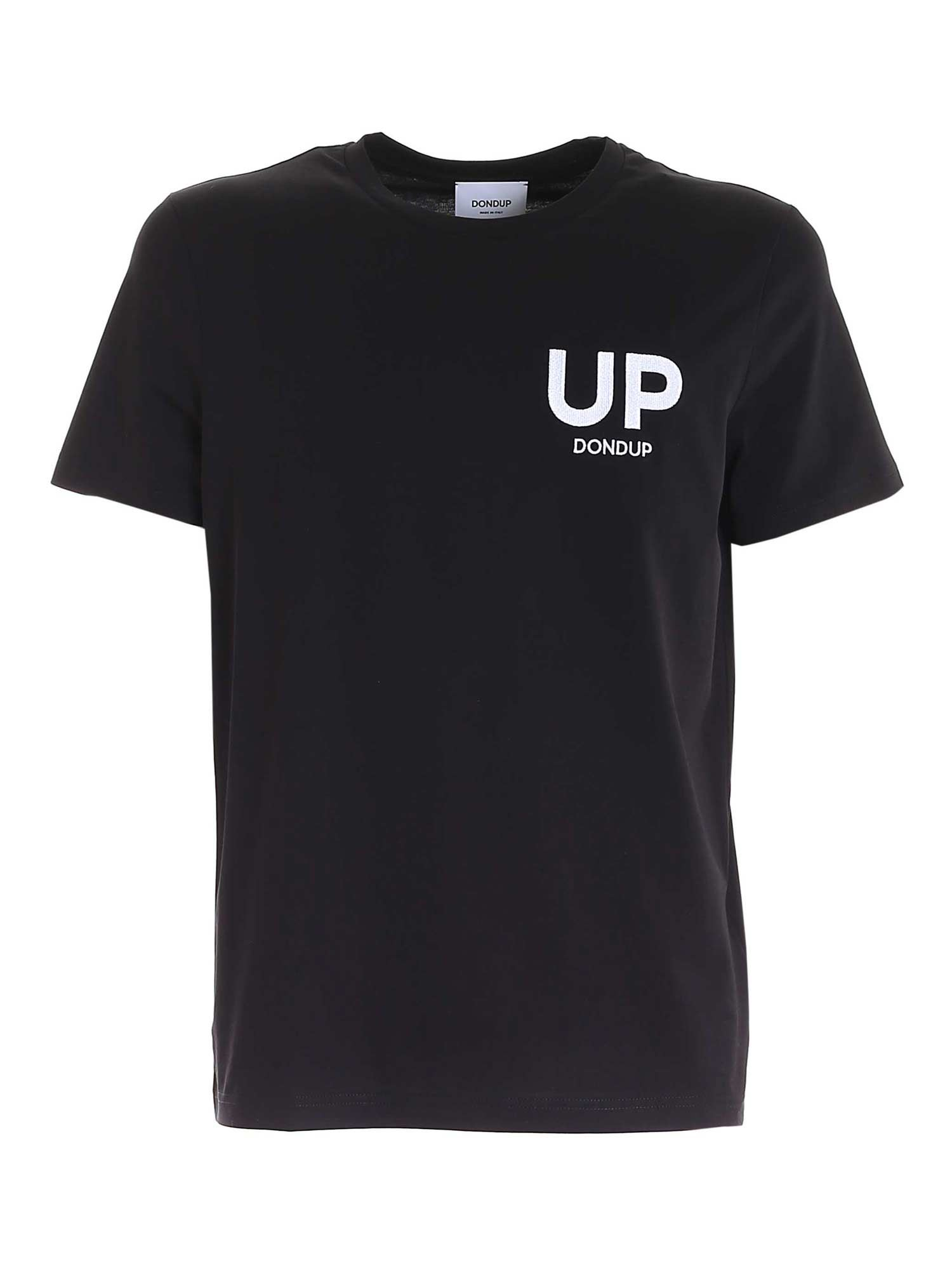 Dondup T-shirts LOGO EMBROIDERY T-SHIRT IN BLACK