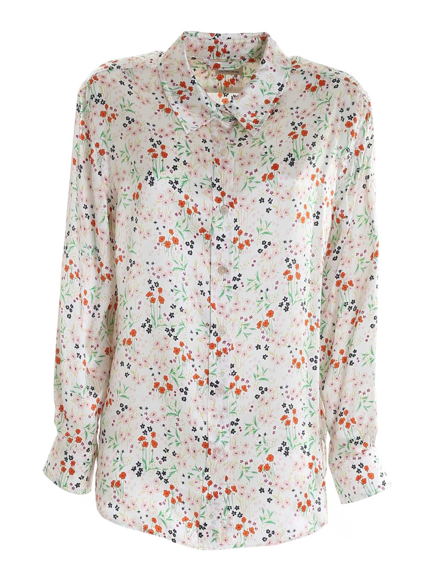 L'autre Chose FLORAL PRINT SHIRT IN WHITE