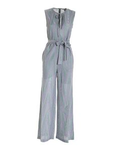 M Missoni - Lamé knit jumpsuitin grey and silver