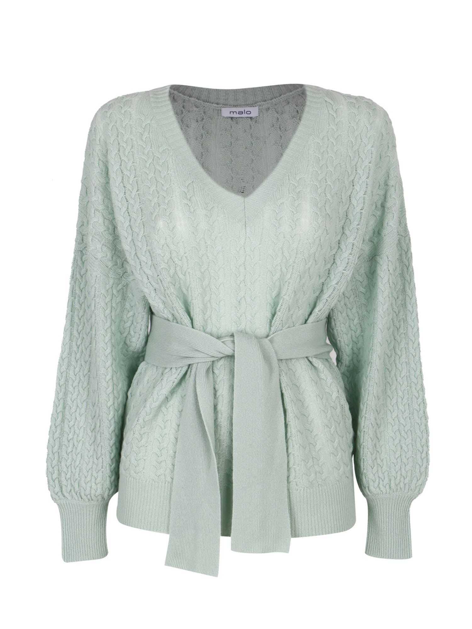 Malo Sweaters V-NECK SWEATER IN GREEN