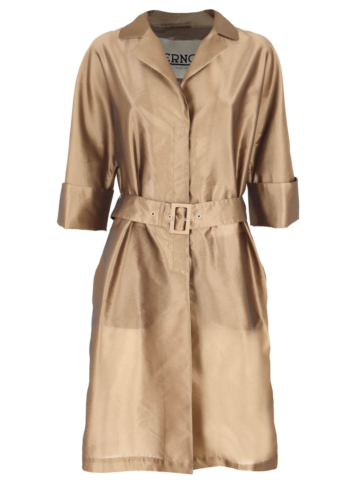 Herno Coats BELTED TRENCH COAT IN BRONZE COLOR
