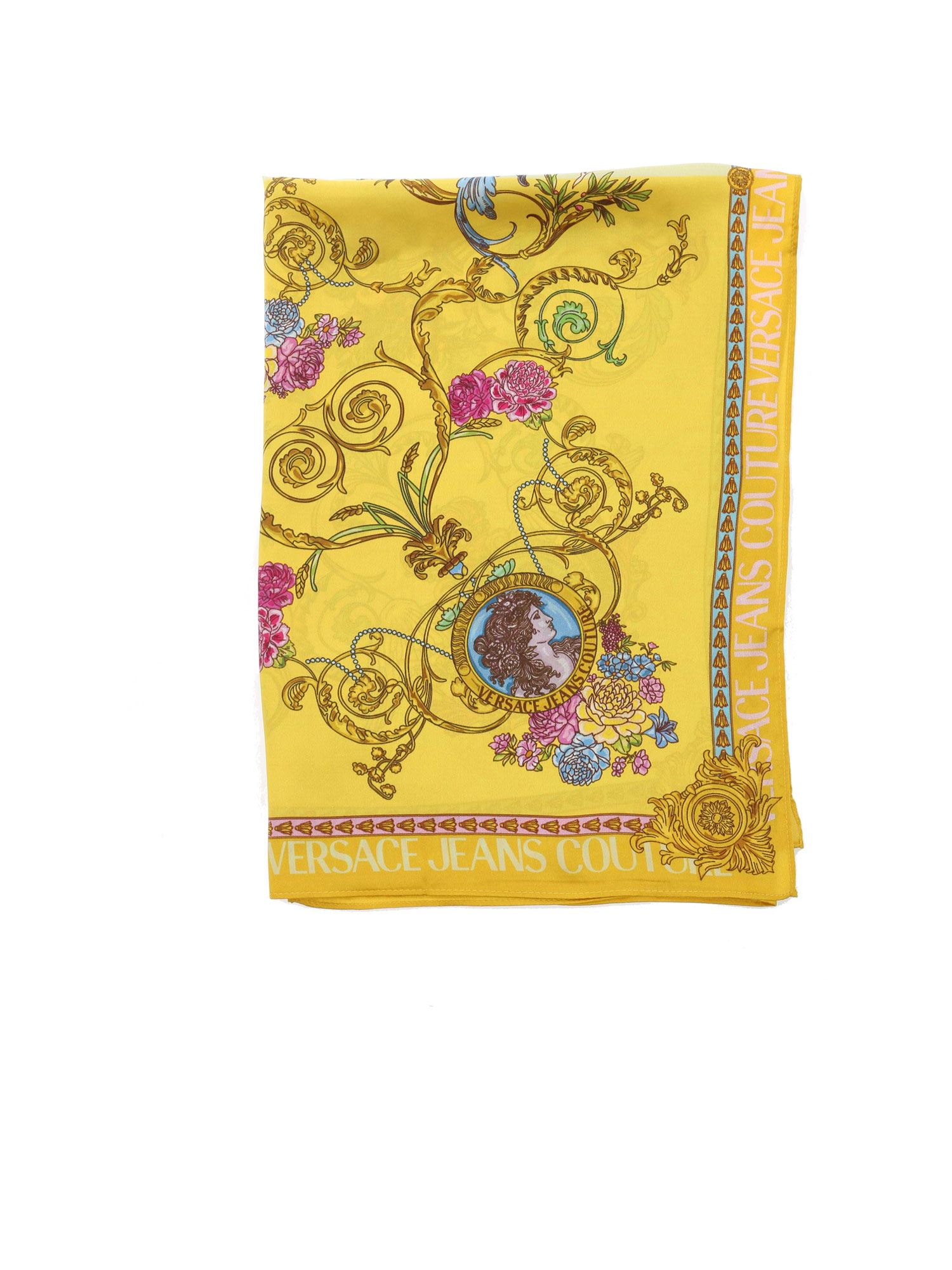Versace Jeans Couture CONTRASTING PRINT SCARF IN YELLOW