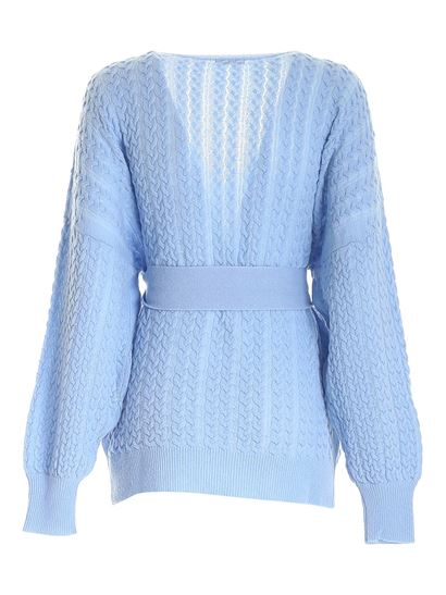 malo - Cable knitted sweater in light blue