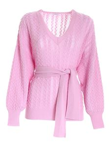 malo - Cable knitted sweater in pink