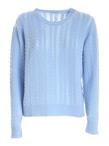 malo - Cable knit cashmere sweater in light blue