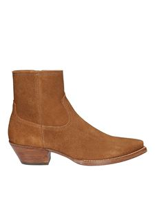 Saint Laurent - Lukas pointy suede booties in brown