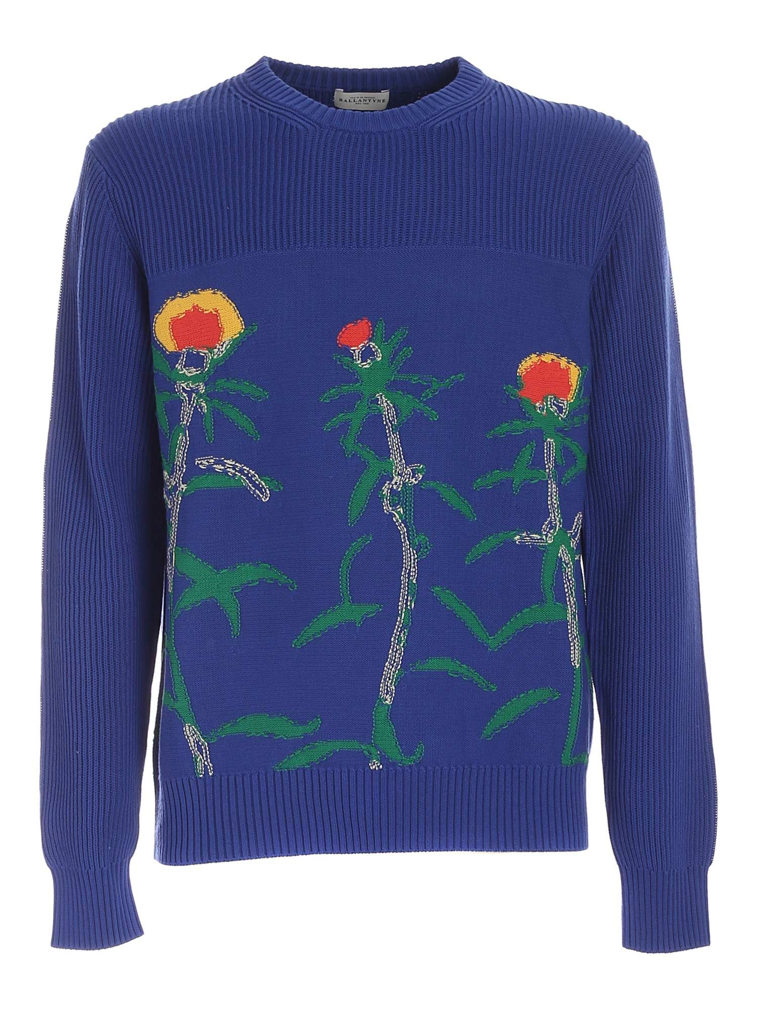 Ballantyne FLORAL INLAY SWEATER IN ELECTRIC BLUE