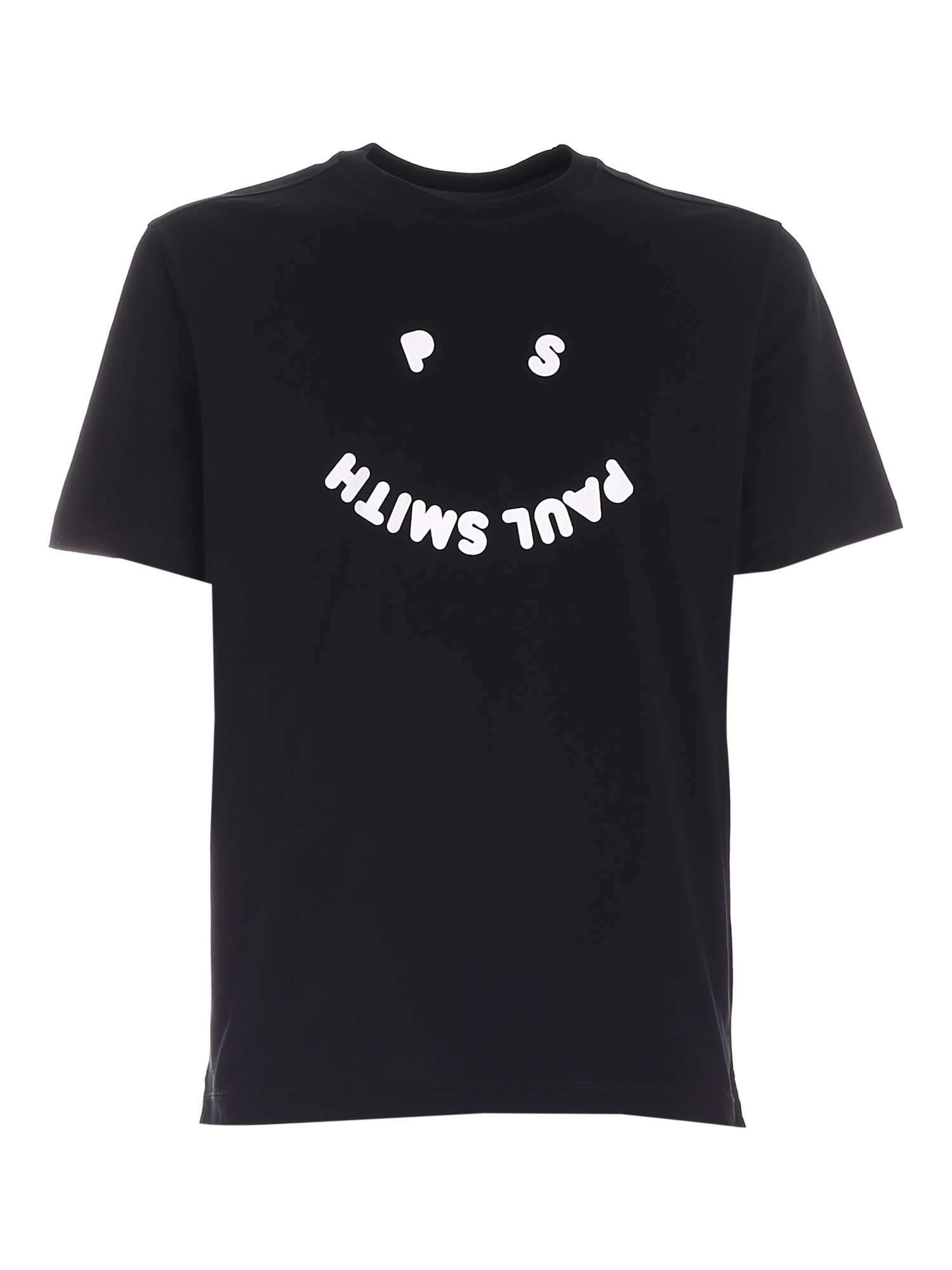 Ps By Paul Smith Cottons PS HAPPY T-SHIRT IN BLACK