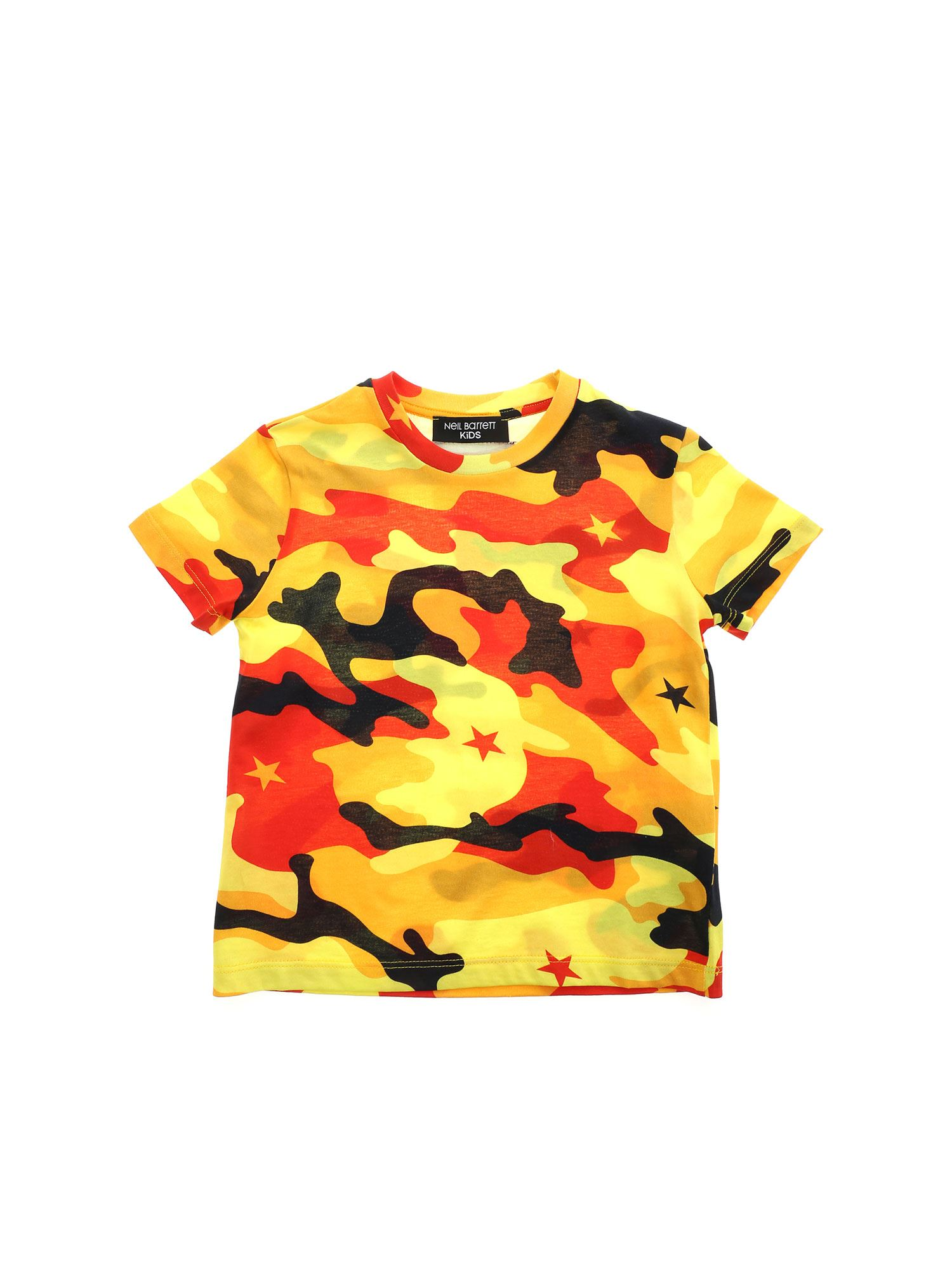 Neil Barrett T-SHIRT IN SHADES OF YELLOW