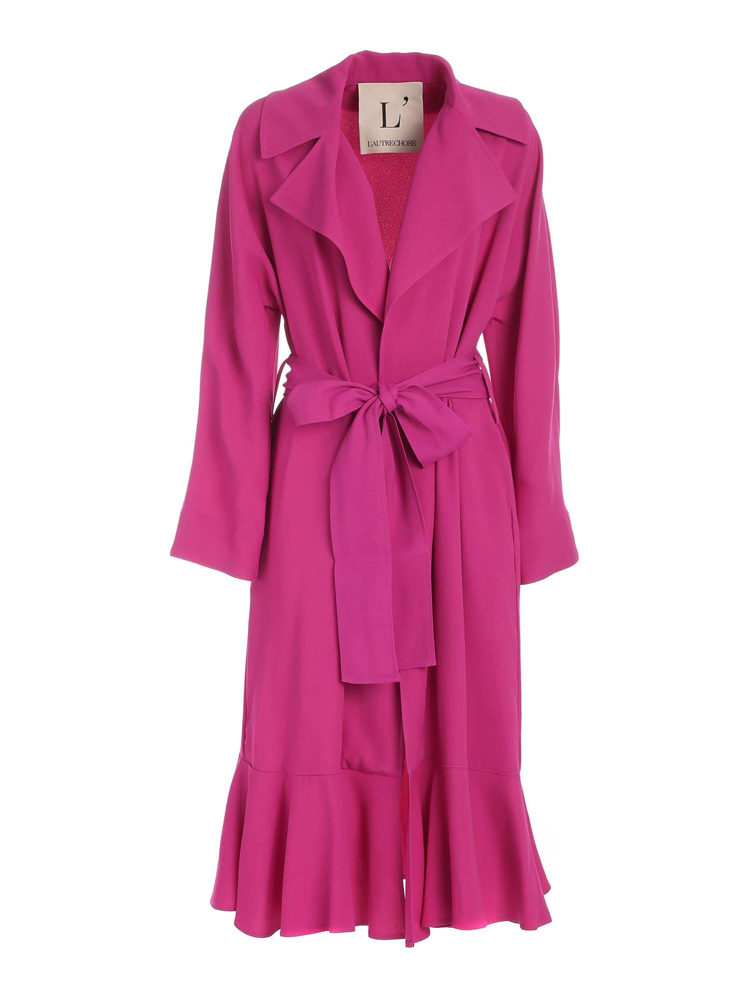 L'autre Chose Trenchcoats FLOUNCES ON THE HEM TRENCH COAT IN FUCHSIA