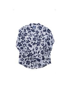 Il Gufo - Blue floral print shirt in white