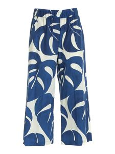 Seventy - Cropped pants in blue and white