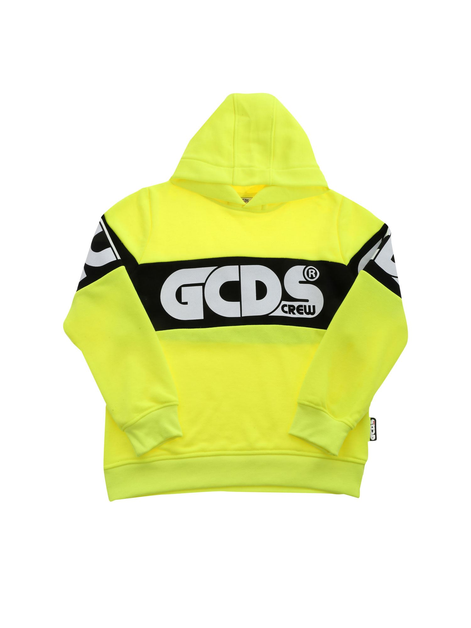 Gcds Cottons MAXI LOGO PRINT SWEATSHIRT IN YELLOW FLUO