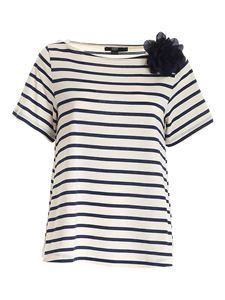 Seventy - Striped bow T-shirt in cream and blue