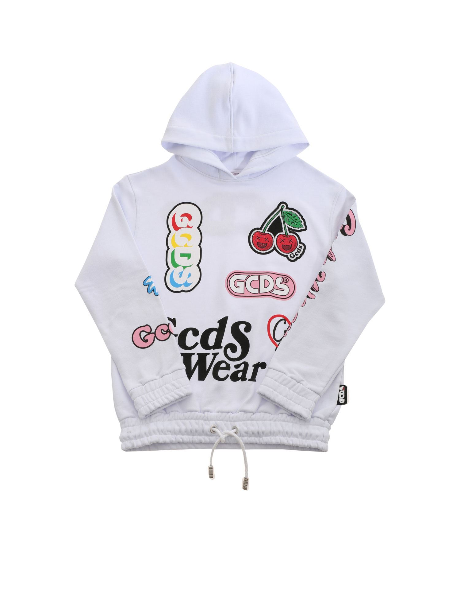 Gcds BOTTOM DRAWSTRING SWEATSHIRT IN WHITE
