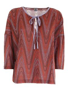 M Missoni - Lamé boxy blouse in brown orange and lilac