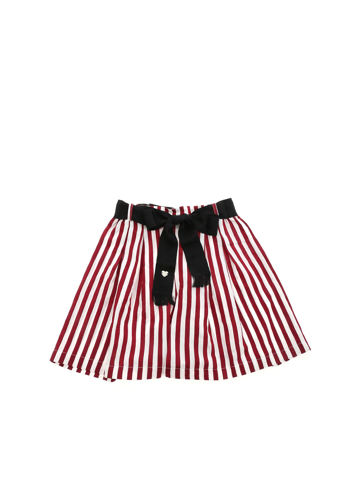 Monnalisa Shorts BURGUNDY STRIPES SHORTS IN WHITE