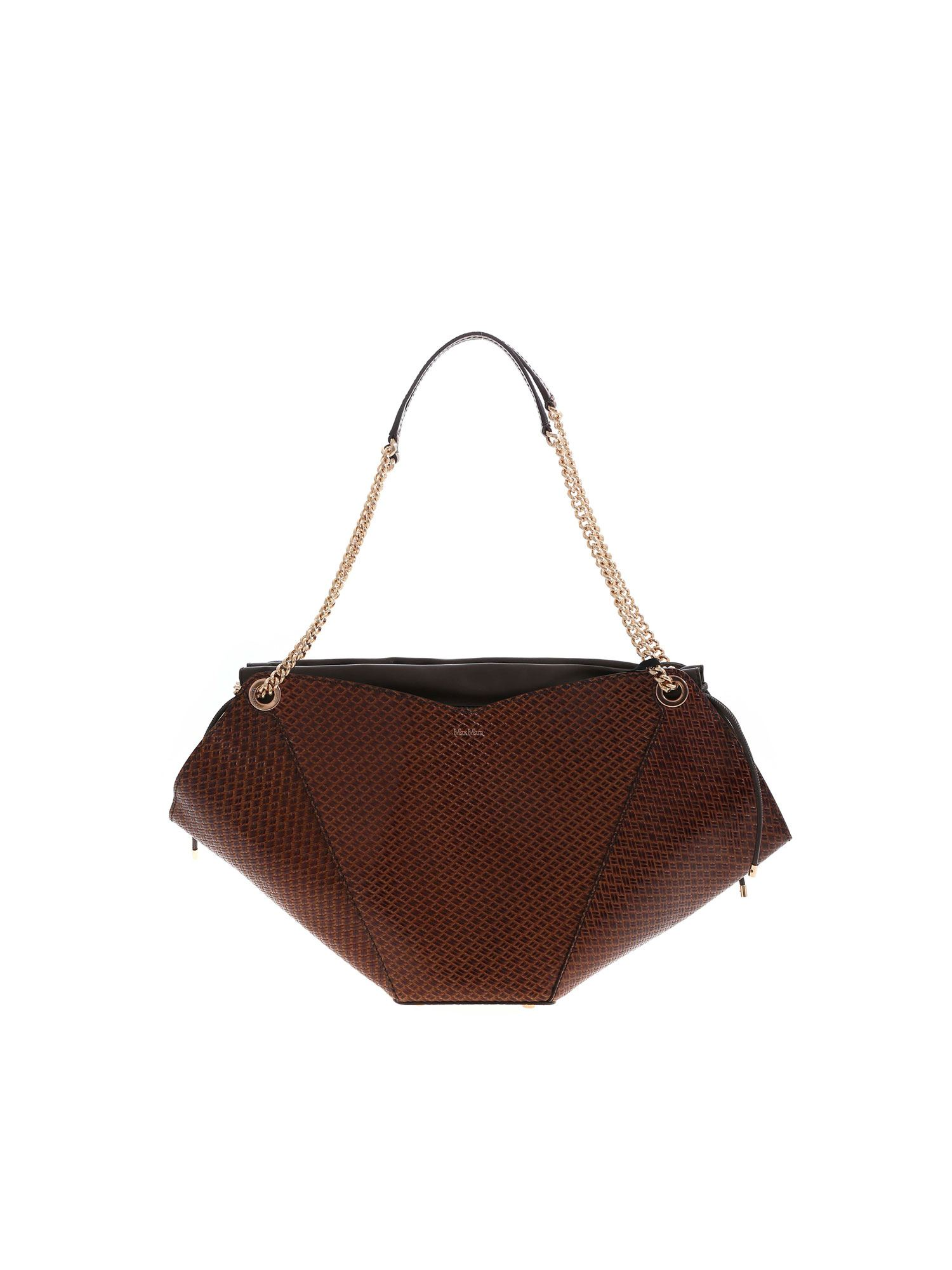 Max Mara FLOWERM SHOULDER BAG IN BROWN