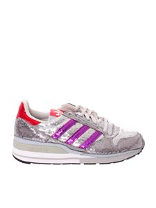 Adidas Originals - Sneakers ZX500 in paillettes argento
