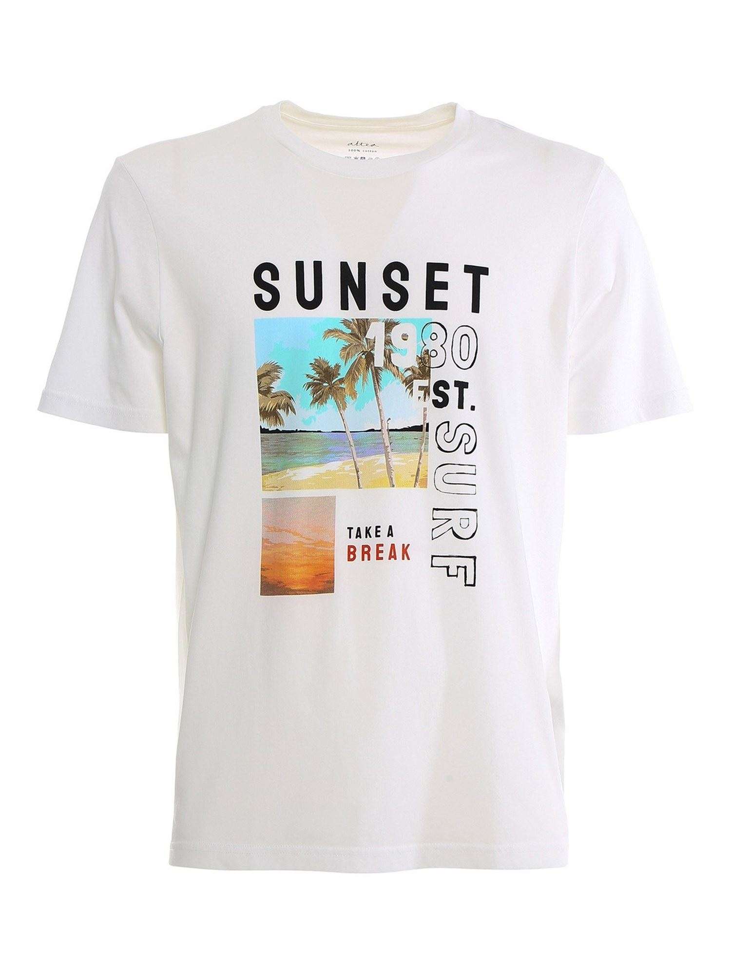 Altea Cottons SURF PRINT T-SHIRT IN WHITE
