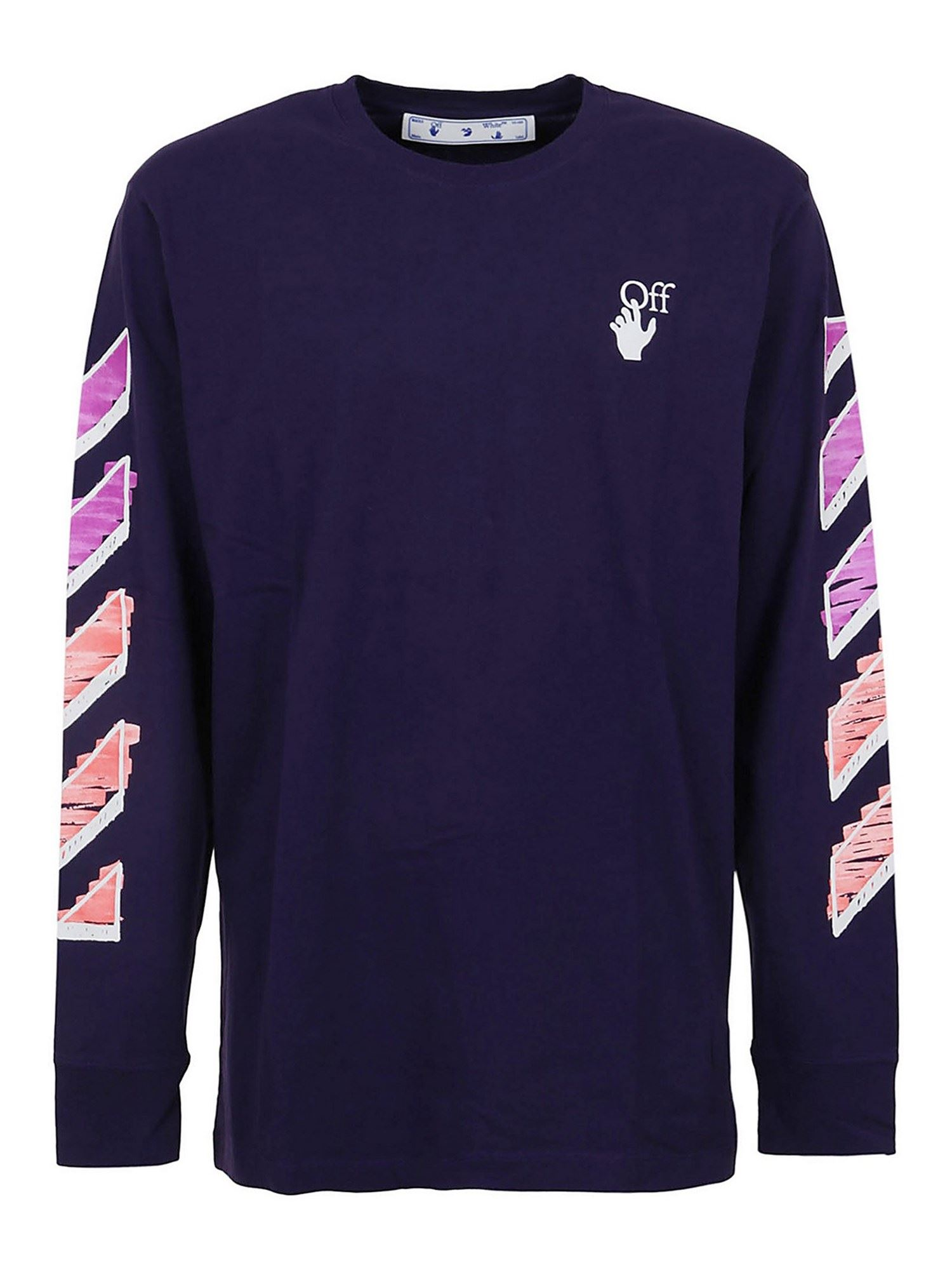 Off-White CREWNECK LONG-SLEEVE T-SHIRT IN PURPLE