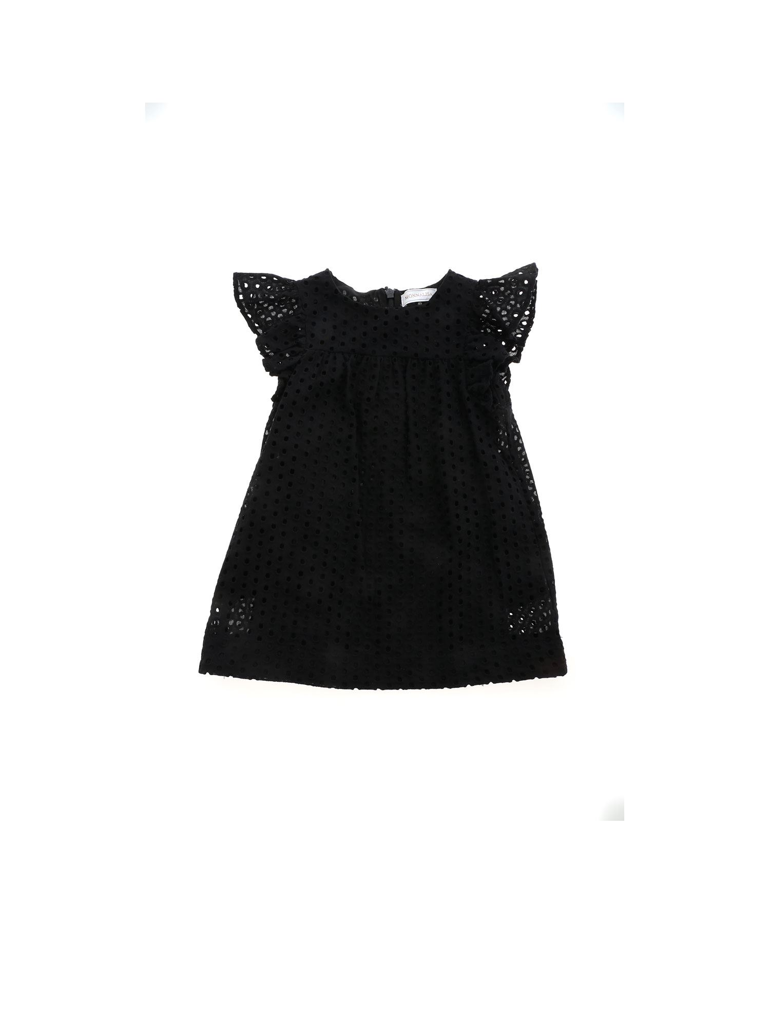 Monnalisa Cottons MARY POLKA DOT EMBROIDERED DRESS IN BLACK