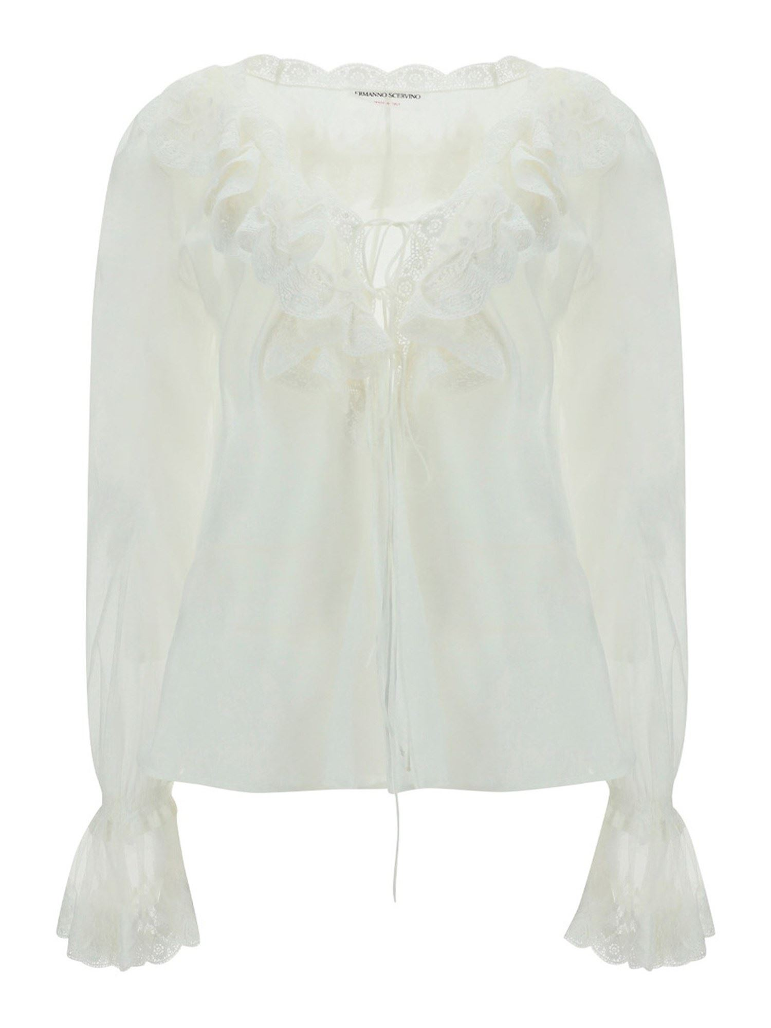 Ermanno Scervino LACE DETAILED COTTON SHIRT IN WHITE