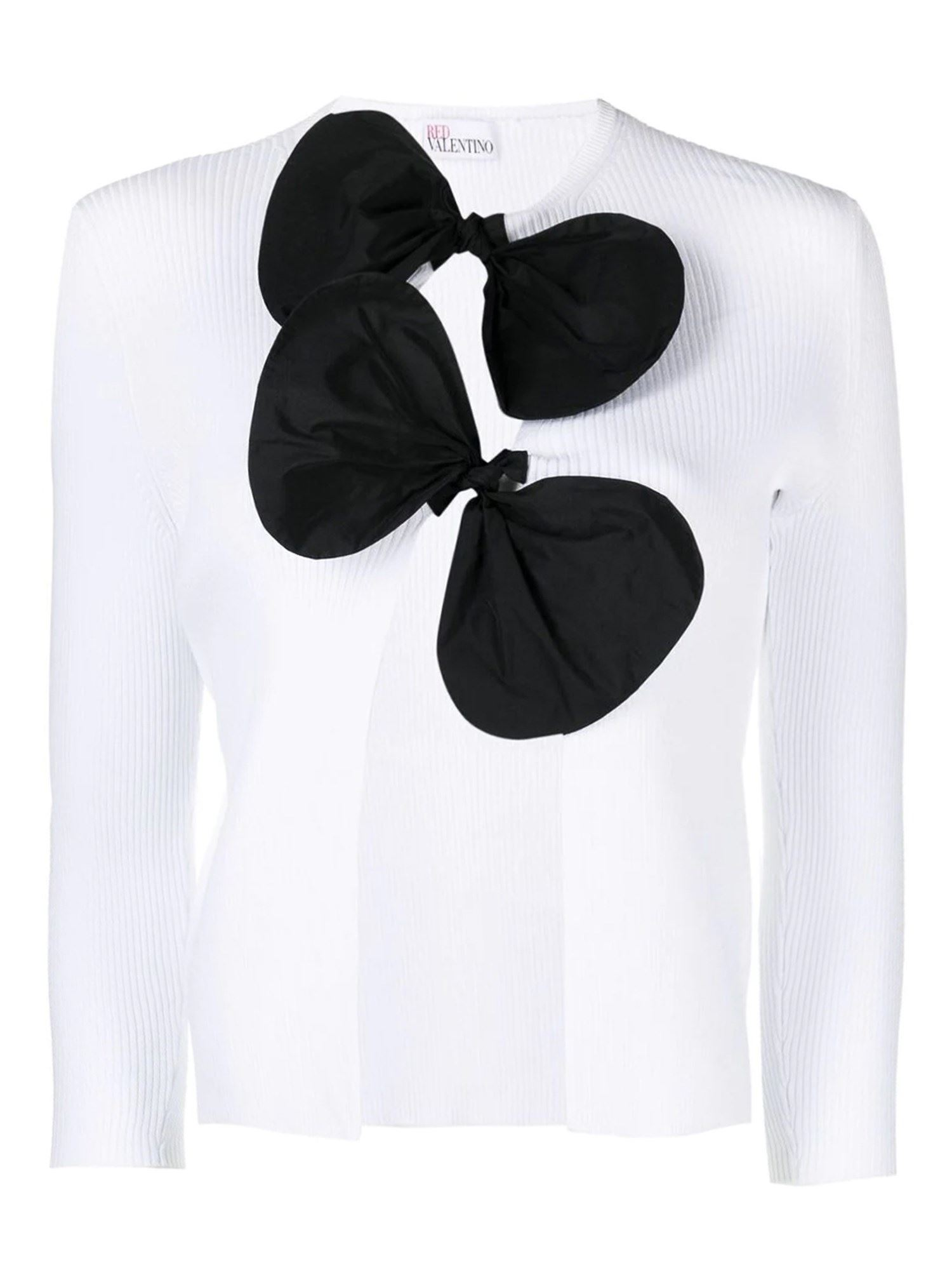 Red Valentino Cottons BOWS DETAILED CARDIGAN IN WHITE