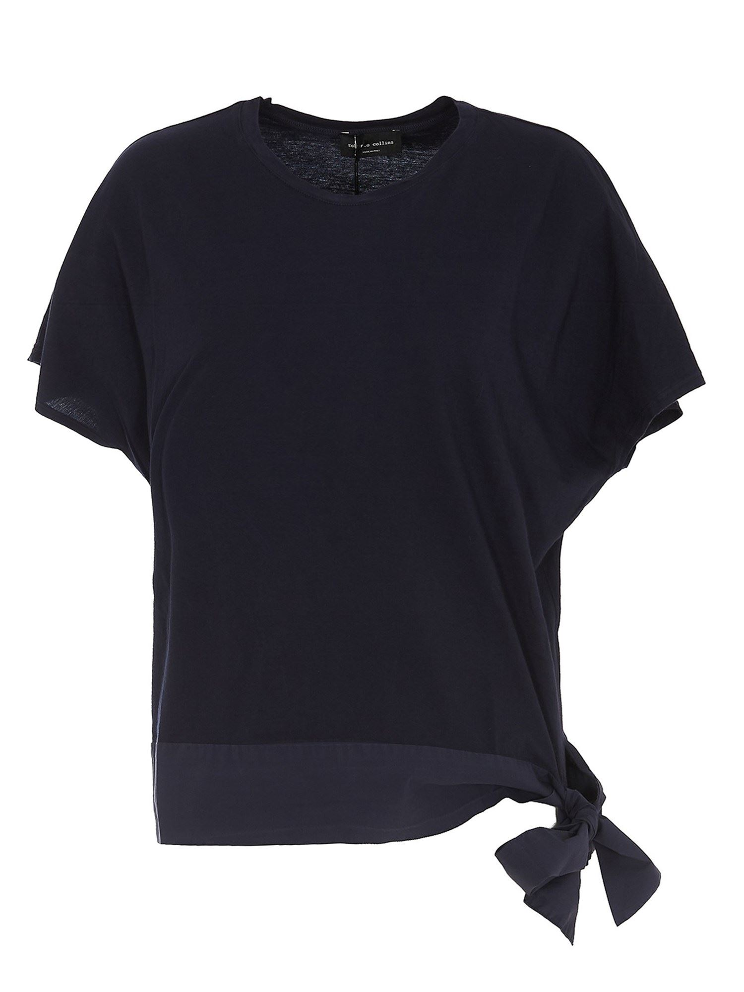 Roberto Collina Cottons BOW DETAILED T-SHIRT IN BLUE
