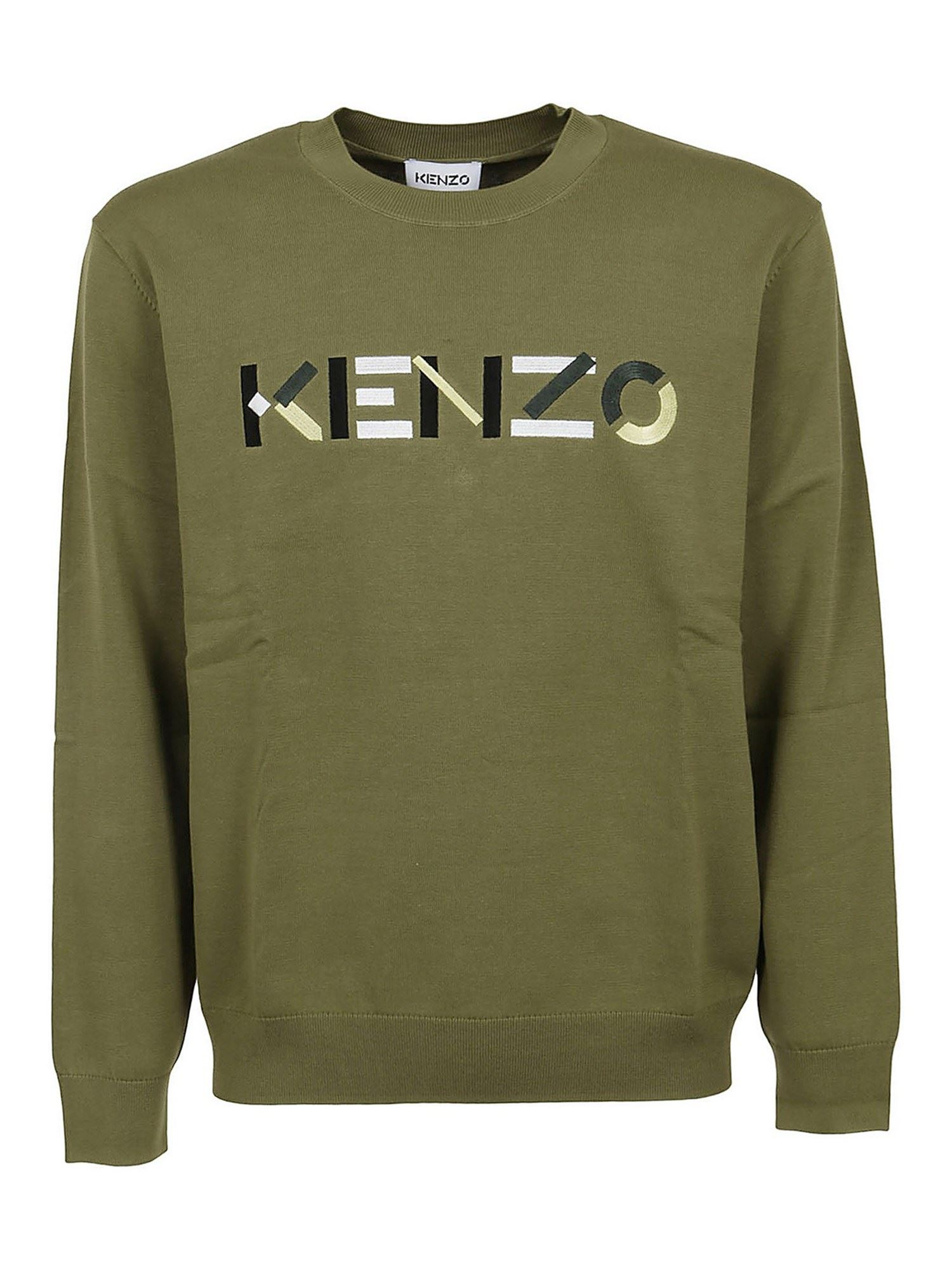 Kenzo Cottons LOGO EMBROIDERY SWEATER IN GREEN