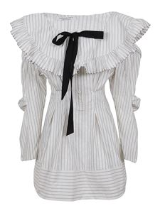 Philosophy di Lorenzo Serafini - Striped poplin dress in white