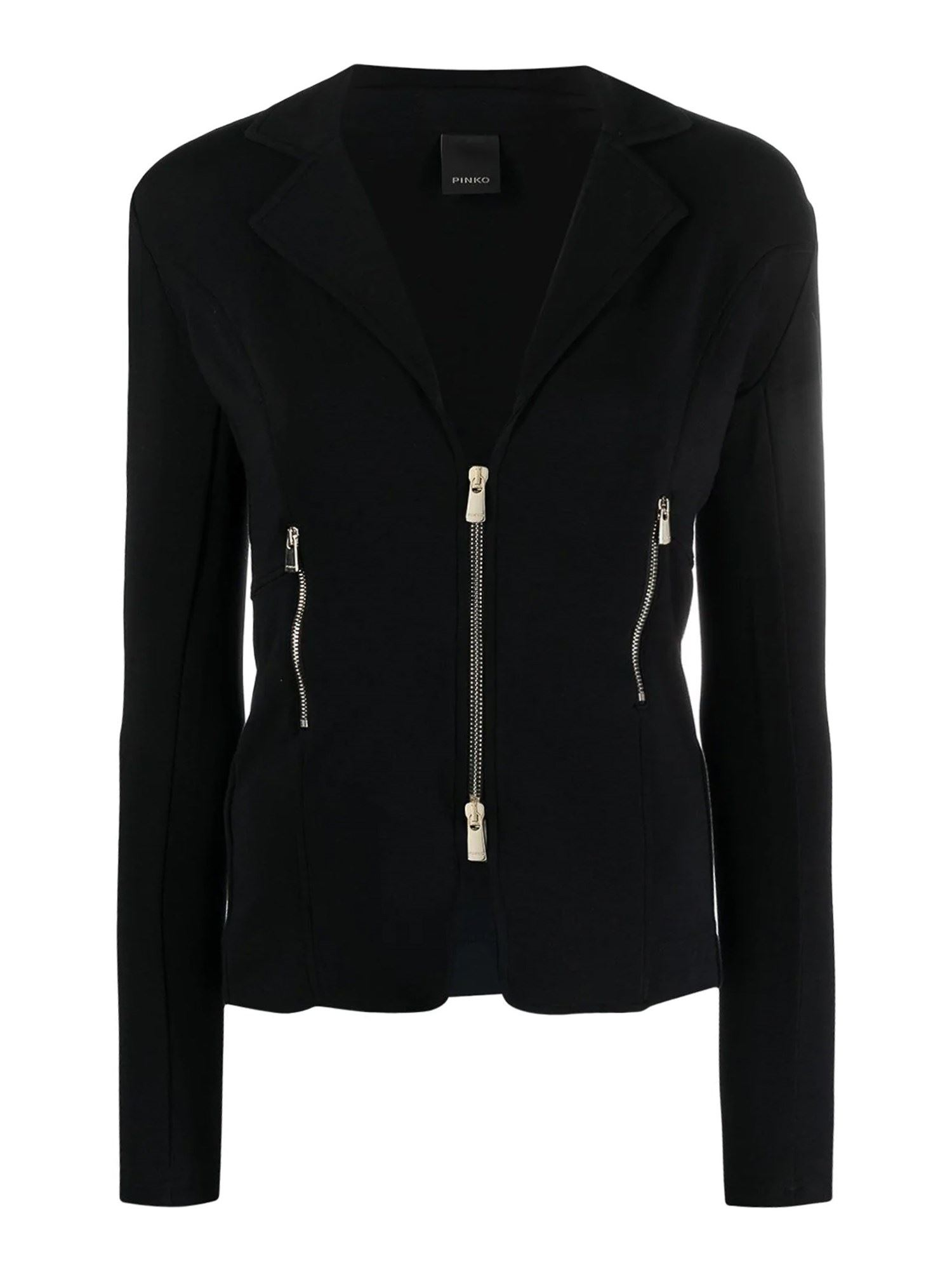 Pinko Blazers PINKO ZIPPED BLAZER IN BLACK