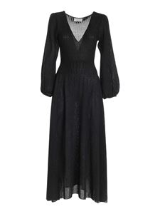 Blumarine - Lamé long dress in black