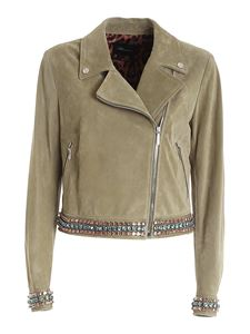 Blumarine - Rhinestoned suede jacket in green