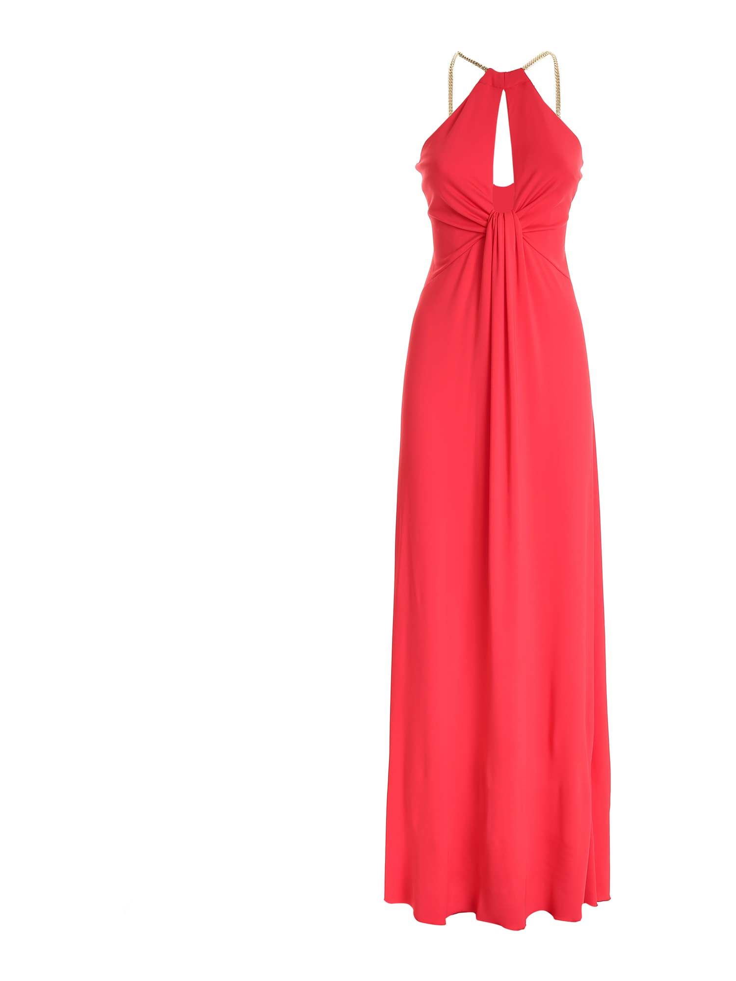 Blumarine Linings CHAIN DETAIL DRESS IN CORAL RED