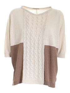 Le Tricot Perugia - Boxy sweater in beige and brown