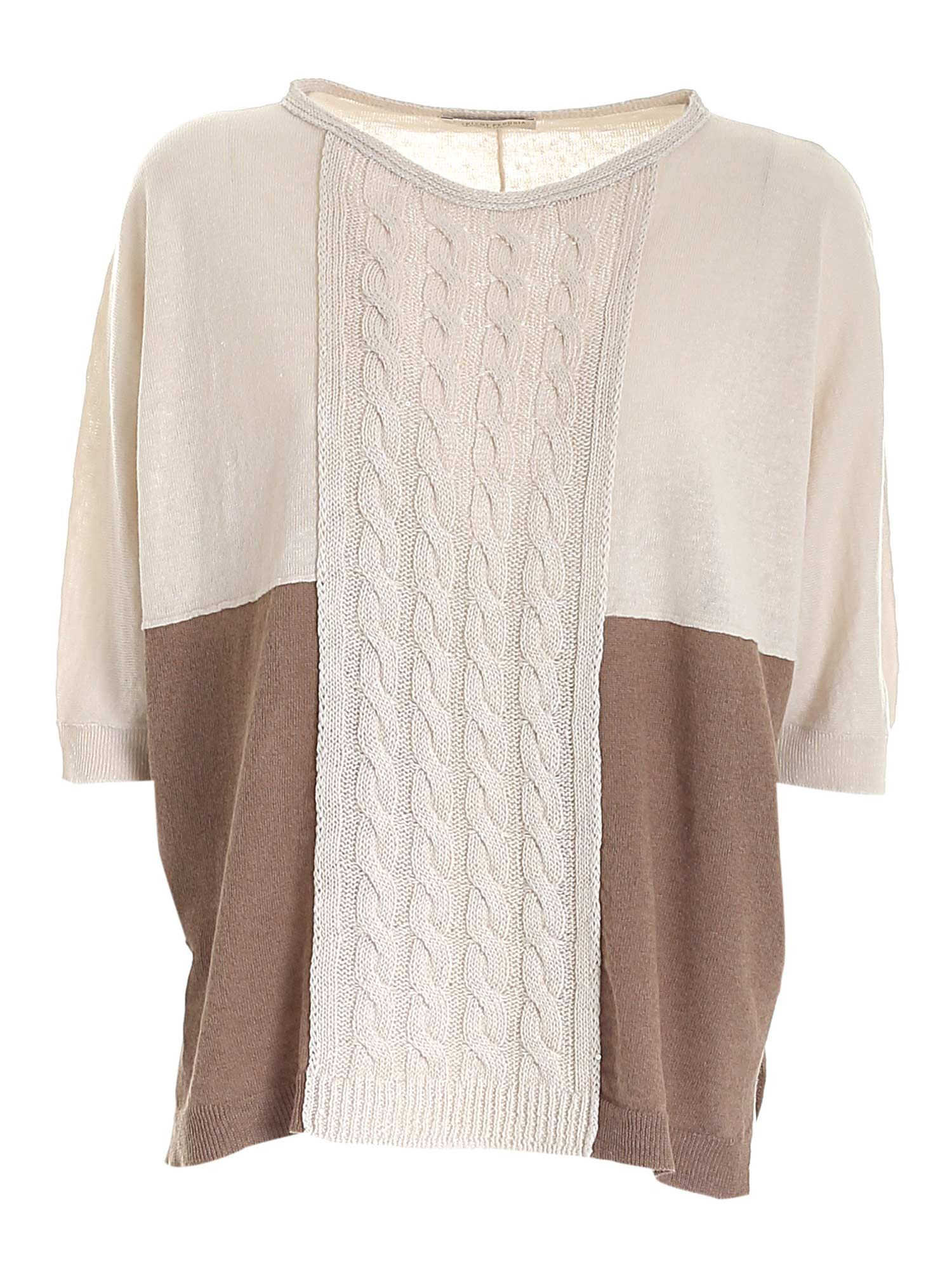 Le Tricot Perugia Cottons BOXY SWEATER IN BEIGE AND BROWN