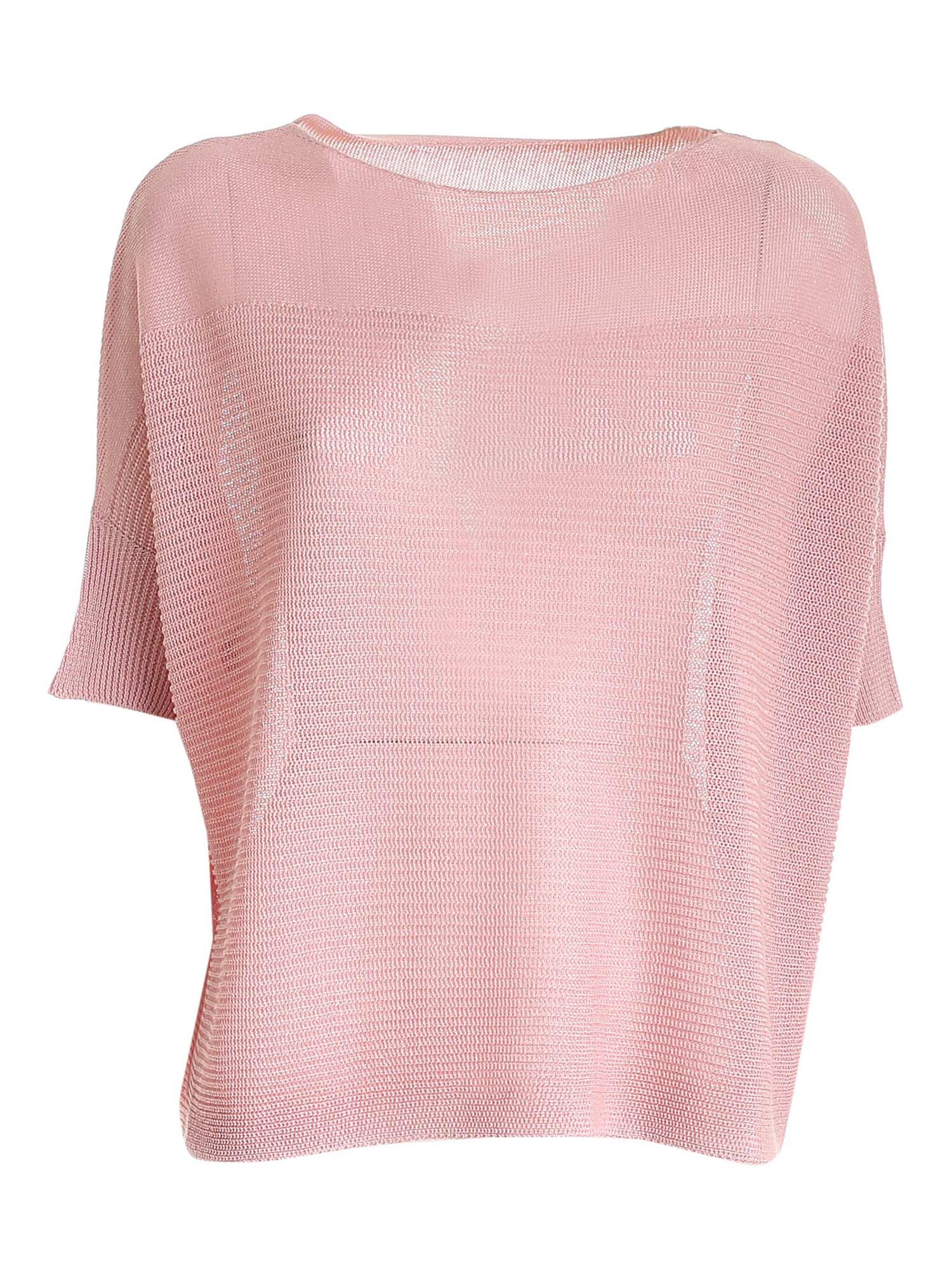 Le Tricot Perugia Sweaters BOXY SWEATER IN PINK