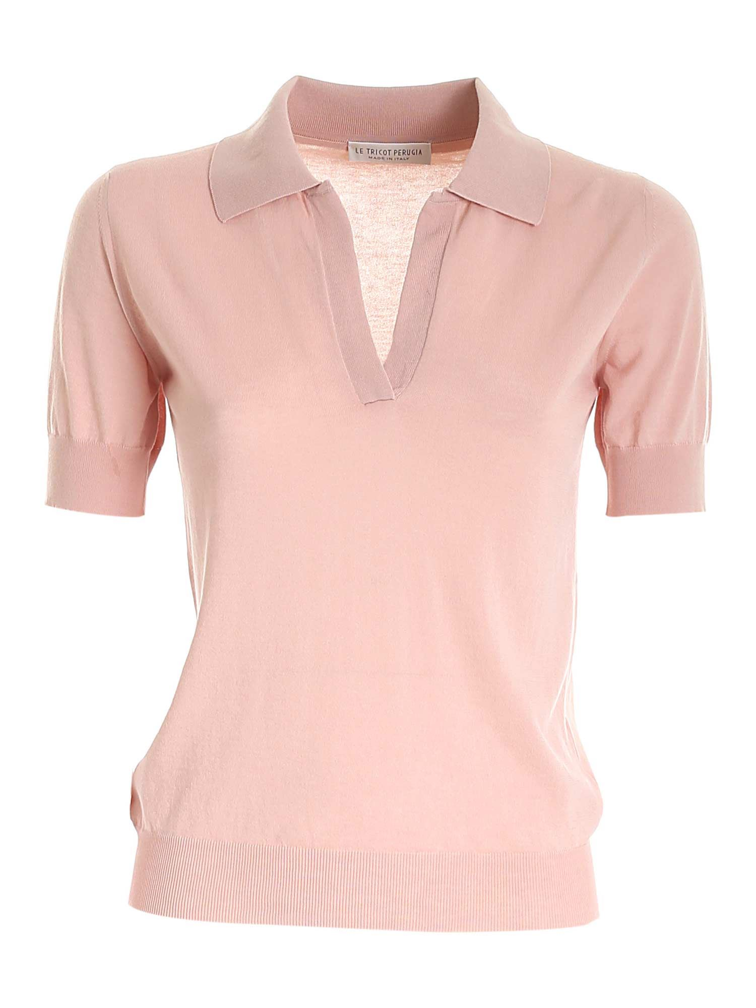 Le Tricot Perugia Cottons COTTON SWEATER IN PINK