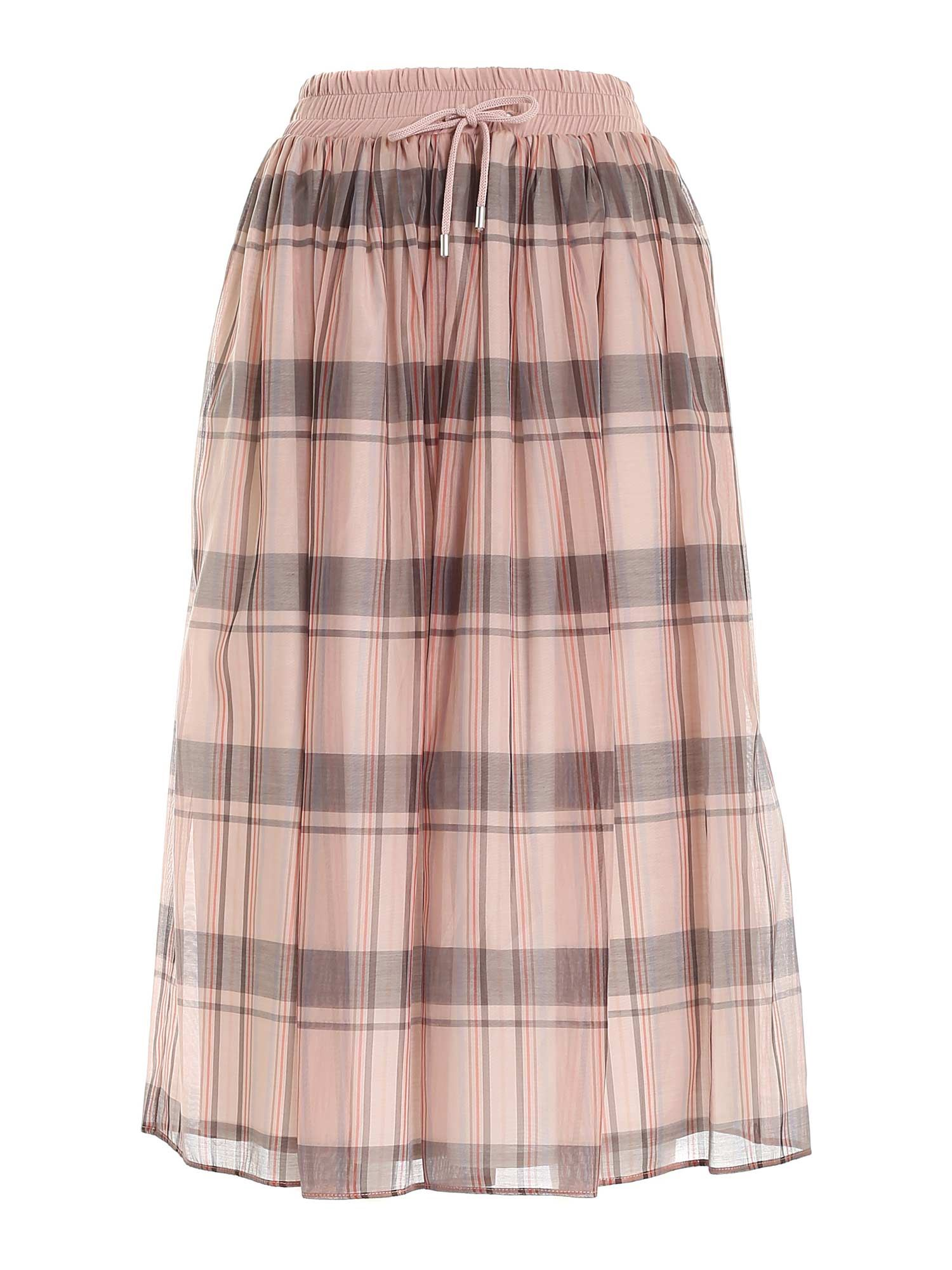 Le Tricot Perugia Silks LOOSE FIT SKIRT IN PINK AND GREY