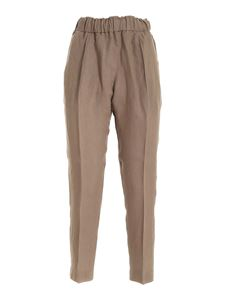 Le Tricot Perugia - Linen pants in brown