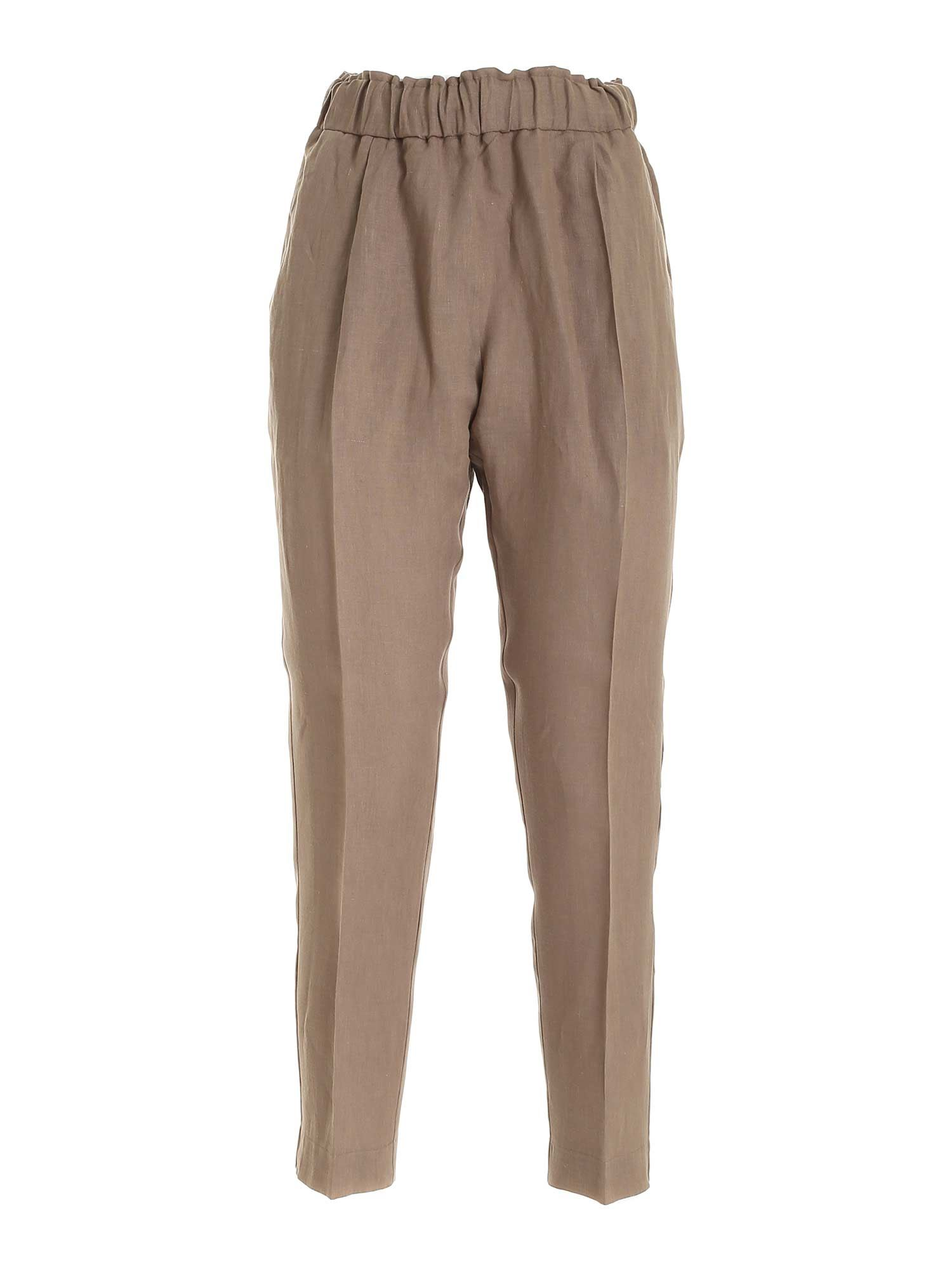 Le Tricot Perugia Pants LINEN PANTS IN BROWN