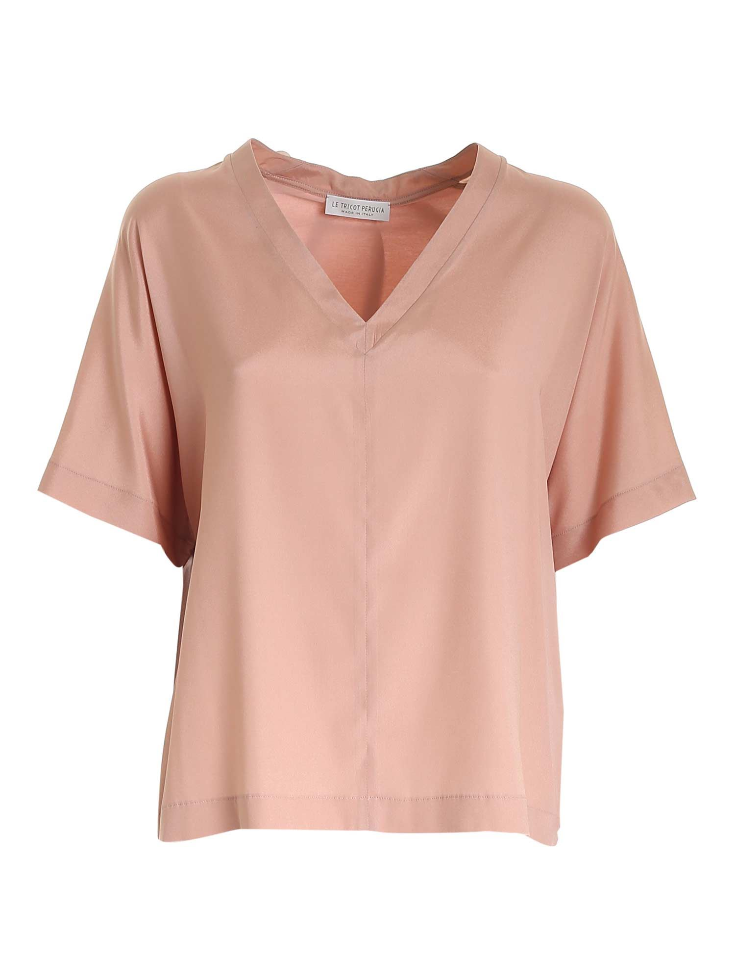 Le Tricot Perugia Silks BOXY T-SHIRT IN ANTIQUE PINK