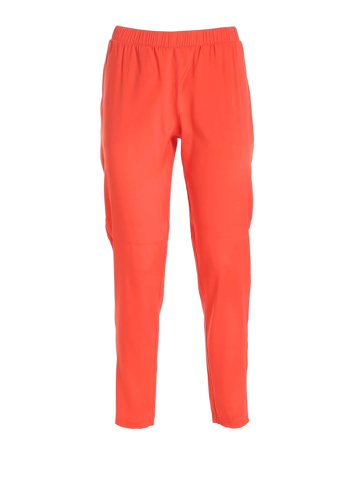 Le Tricot Perugia SILK PANTS IN CORAL RED