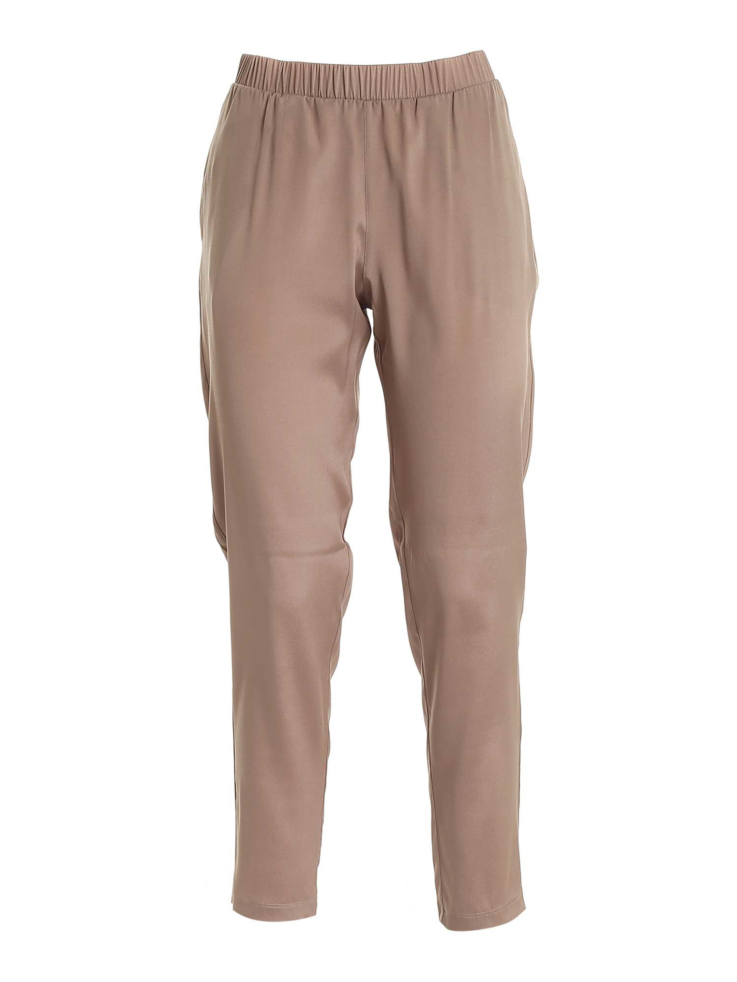 Le Tricot Perugia SILK PANTS IN BROWN
