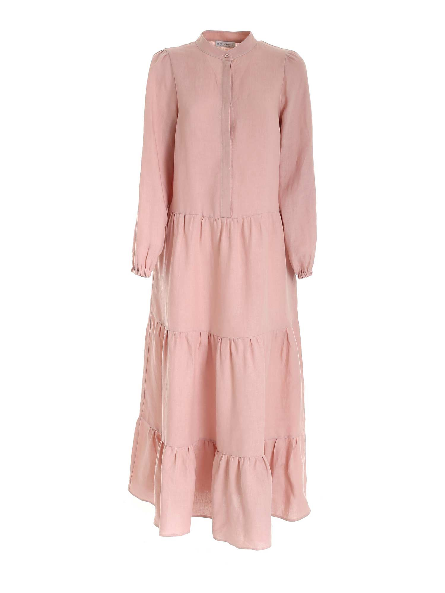 Le Tricot Perugia CURLED LONG DRESS IN PINK