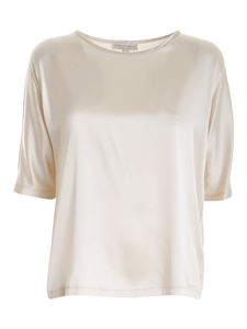 Le Tricot Perugia - Stretch satin blouse in ivory color