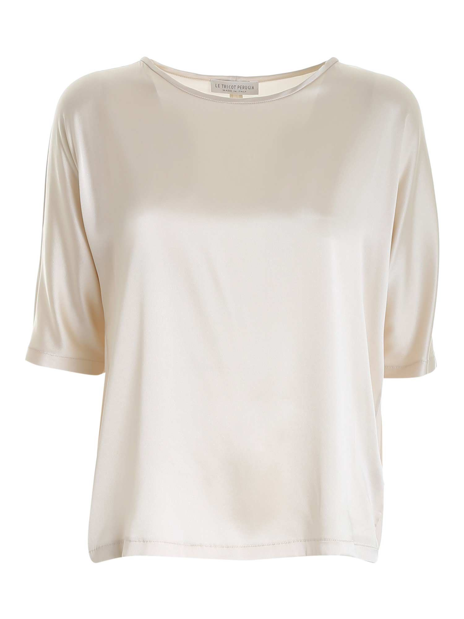 Le Tricot Perugia STRETCH SATIN BLOUSE IN IVORY COLOR